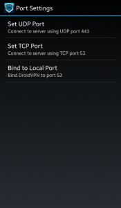 port settings