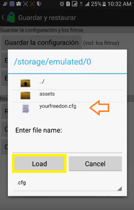 configuracion your freedom internet android