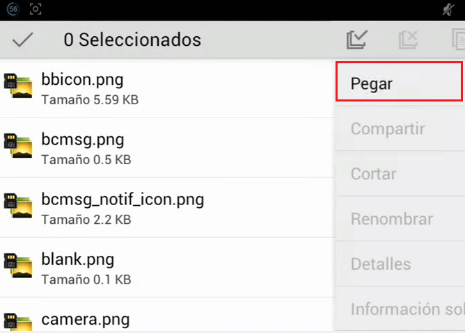 menu handler transparente android