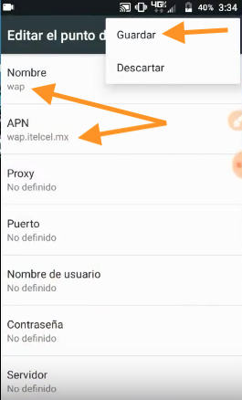 apn telcel wap mega ssh netfree movistar